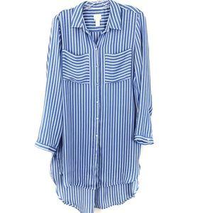 Chicos Long Tunic Shift Shirtdress Blue Stripe